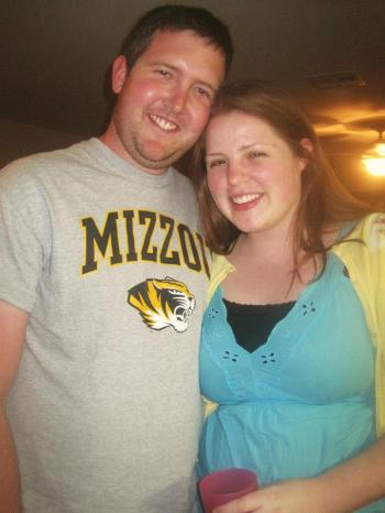 Greg sporting the Mizzou T I mentioned in my spring break post at our party. Doesn't he look great in black and gold?? Go Tigers!